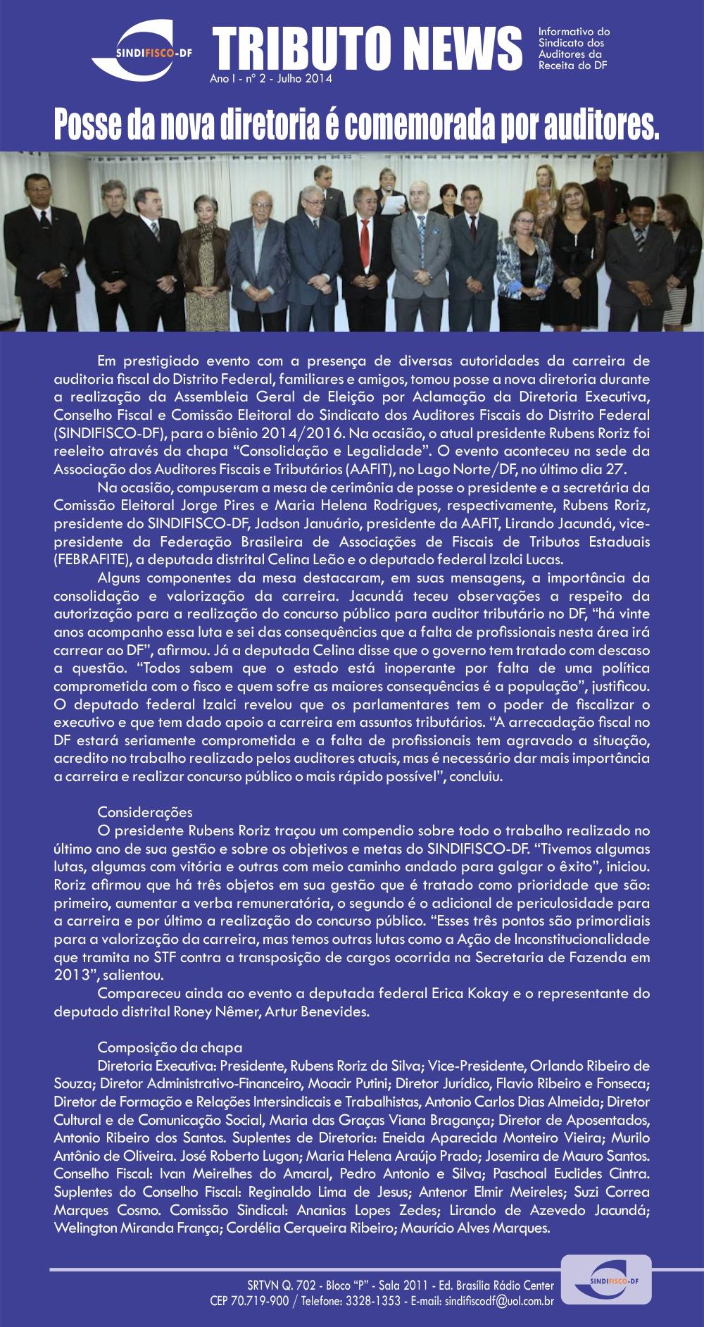 TRIBUTO NEWS – Posse da nova Diretoria do SINDIFISCO-DF