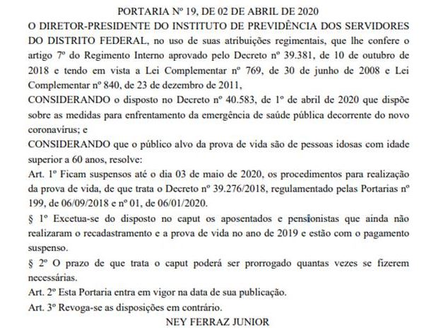 Iprev-DF suspende prova de vida para servidores aposentados